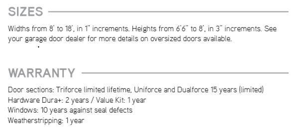 Sizes & Warranty Force