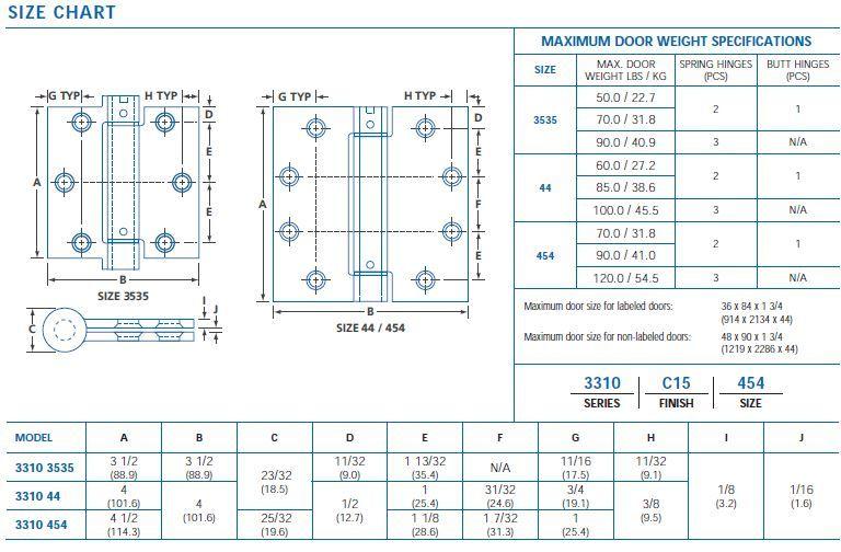 size chart 3310
